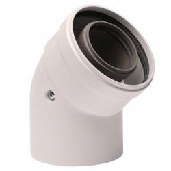 Коляно за коаксиален комин 45°, 60/100 mm