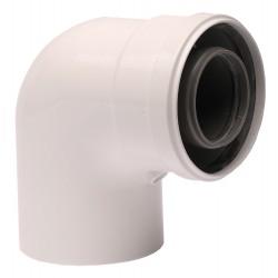 Коляно за коаксиален комин 90°, 60/100 mm