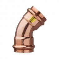 Медно прес коляно за газ 45° - ф28 - Ж/Ж