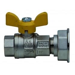 """Сферичен кран за газ с Т-образна ръкохватка, Ж/Х - 3/4"""" х 1"""" 1/4"""
